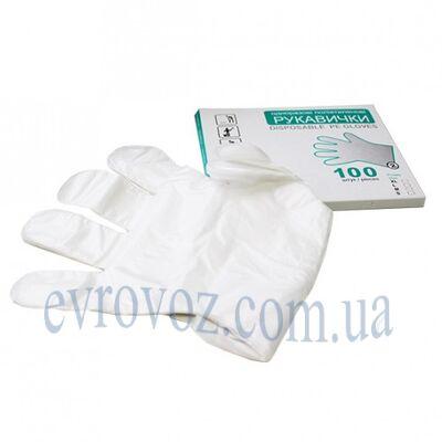 Перчатки одноразовые полиэтиленовые 100шт. Размер L