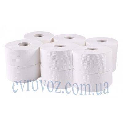 Туалетная бумага в рулоне Джамбо 1057 отрывов 1 слой белая