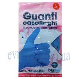Перчатки латексные хозяйственные 2шт. Guanti casalinghi синие L
