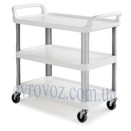 Сервировочная офисная тележка белая 90х50х102 см
