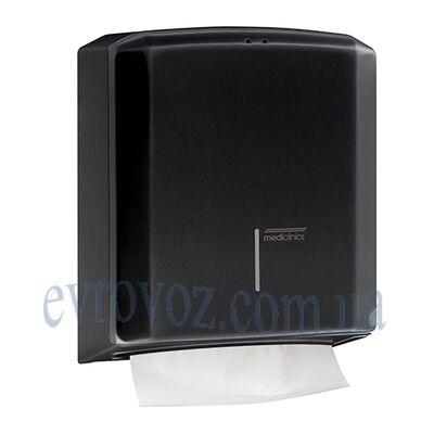 Диспенсер бумажных полотенец в пачках настенный V-сложения черный металл