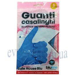 Перчатки латексные хозяйственные 2шт. Guanti casalinghi синие S