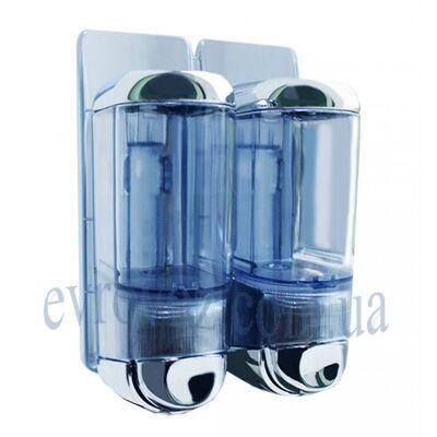 Дозатор жидкого мыла 2*0,17 л Аквалба глянцевый серебристый