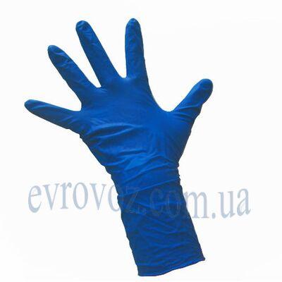 Перчатки нитриловые без пудры синие L