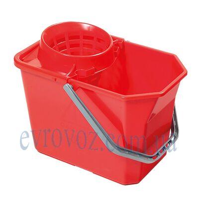 Ведро 15 л. со встроенной сеточкой красное